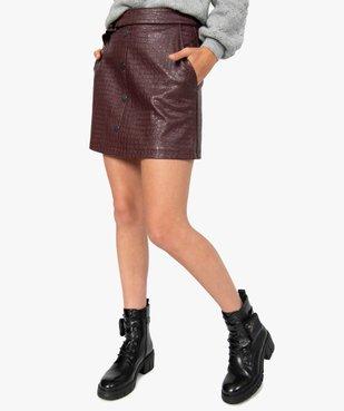 Jupe femme évasée en synthétique imitation cuir avec ceinture vue1 - GEMO(FEMME PAP) - GEMO