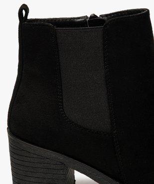 Boots femme à talon et semelle crantée en suédine unie vue6 - GEMO(URBAIN) - GEMO
