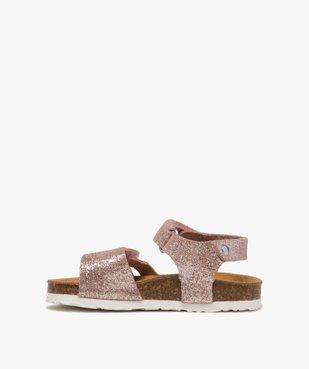 Sandales bébé fille à scratch et brides en cuir métallisées vue3 - GEMO(BEBE DEBT) - GEMO