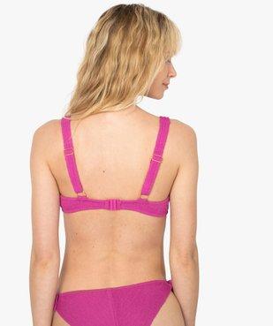 Haut de maillot de bain femme à armatures en maille gaufrée vue2 - GEMO (PLAGE) - GEMO