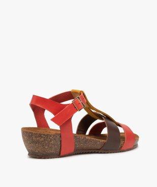 Sandales femme à brides en cuir colorées et talon compensé vue4 - GEMO (CASUAL) - GEMO