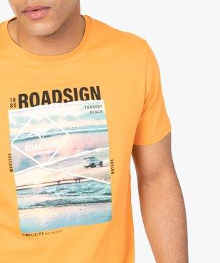 Tee-shirt homme à manches courtes imprimé nature - Roadsign vue2 - ROADSIGN - GEMO