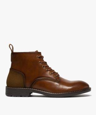 Boots homme unis à lacets et zip avec couture débordante vue1 - GEMO (CASUAL) - GEMO