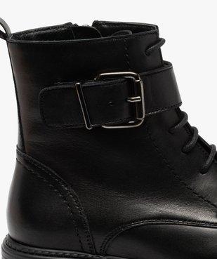 Boots fille zippées à lacets et bride décorative dessus cuir uni vue6 - GEMO (ENFANT) - GEMO