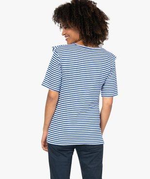 Tee-shirt de grossesse rayé à volants vue3 - GEMO (MATER) - GEMO