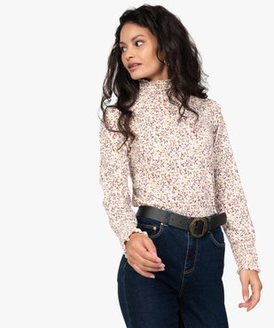 Tee-shirt femme col montant à motif fleuri vue1 - GEMO C4G FEMME - GEMO
