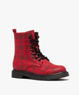 Boots femme rangers à semelle crantée lacets contrastés Dessus à carreaux vue2 - GEMO (CASUAL) - GEMO