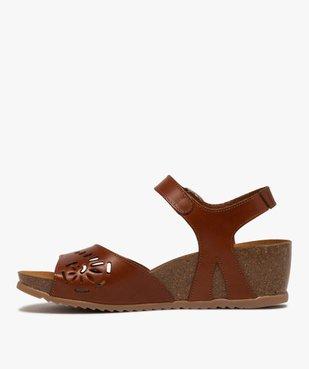 Sandales femme à talon compensé et bride en cuir ajouré vue3 - GEMO(URBAIN) - GEMO