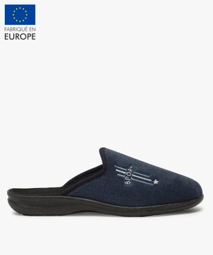 Chaussons homme mules confort en velours ras brodé vue1 - Nikesneakers(HOMWR HOM) - Nikesneakers