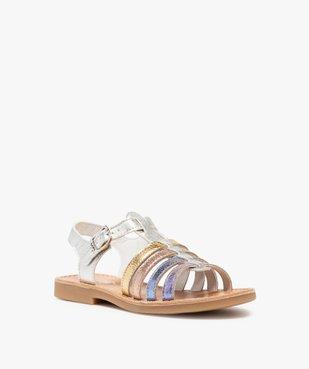 Sandales filles en cuir à brides multiples arc-en-ciel - Bopy vue2 - BOPY - GEMO