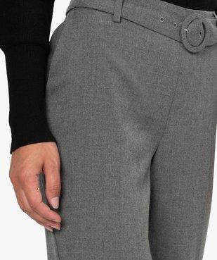 Pantalon femme chiné à ceinture et revers vue2 - GEMO(FEMME PAP) - GEMO
