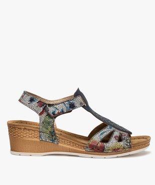 Sandales femme à talon compensé fermeture scratch vue1 - GEMO(URBAIN) - GEMO