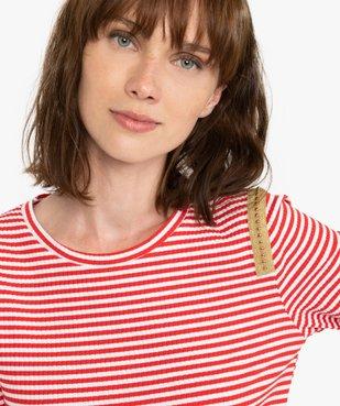 Tee-shirt femme rayé à manches longues en maille côtelée vue2 - Nikesneakers(FEMME PAP) - Nikesneakers