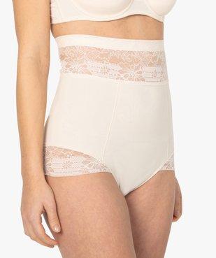 Culotte femme gainante taille très haute en microfibre et dentelle vue1 - GEMO(HOMWR FEM) - GEMO