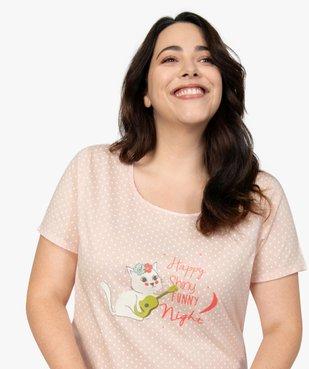 Chemise de nuit femme à manches courtes avec motif vue1 - GEMO(HOMWR FEM) - GEMO