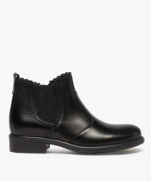Boots fille style chelsea dessus cuir uni à bords dentelés vue1 - GEMO (ENFANT) - GEMO