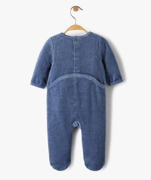 Pyjama bébé garçon en velours avec inscription brodée  vue3 - GEMO(BB COUCHE) - GEMO