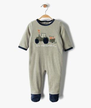 Pyjama bébé garçon en velours avec motif tracteur vue1 - GEMO(BB COUCHE) - GEMO