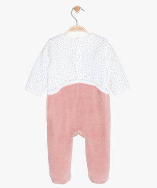 Pyjama bébé en velours motif licorne à pont-dos pressionné vue3 - GEMO(BB COUCHE) - GEMO
