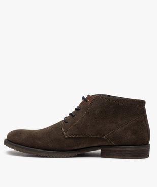 Boots homme unis à lacets dessus en cuir velours vue3 - GEMO(URBAIN) - GEMO