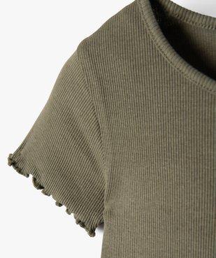 Tee-shirt fille en maille côtelée avec finitions froncées vue2 - GEMO C4G FILLE - GEMO