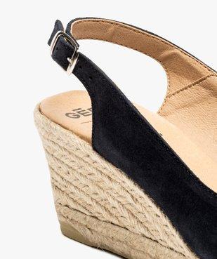 Sandales femme à talon compensé et dessus cuir velours vue6 - GEMO(URBAIN) - GEMO
