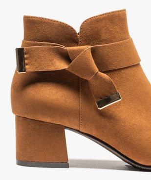 Boots femme à talon en suédine unie et bride décorative vue6 - Nikesneakers(URBAIN) - Nikesneakers