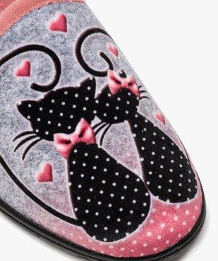 Chaussons femme mules en velours imprimées chats vue6 - GEMO(HOMWR FEM) - GEMO