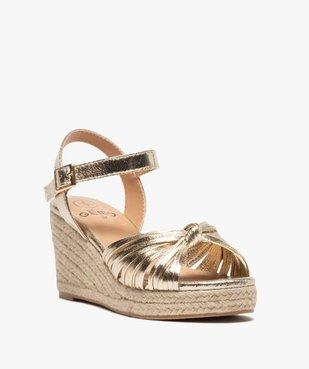 Sandales femme à talon compensé et fines brides nouées vue2 - GEMO(URBAIN) - GEMO