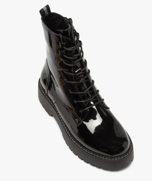 Boots femme vernis à lacets et semelle crantée vue5 - GEMO (CASUAL) - GEMO