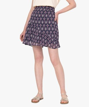 Jupe femme courte en voile imprimé vue1 - GEMO(FEMME PAP) - GEMO