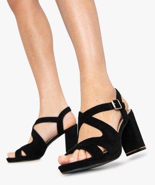Sandales femme en suédine unie et talon carré vue1 - GEMO(URBAIN) - GEMO