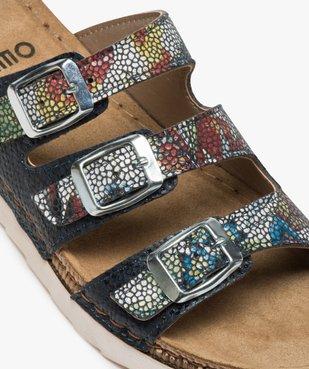 Sandales confort femme mules à talon compensé colorées vue6 - GEMO (CONFORT) - GEMO