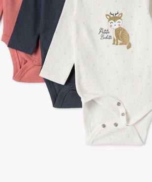 Body bébé fille manches longues avec motif biche (lot de 3) vue4 - GEMO(BB COUCHE) - GEMO