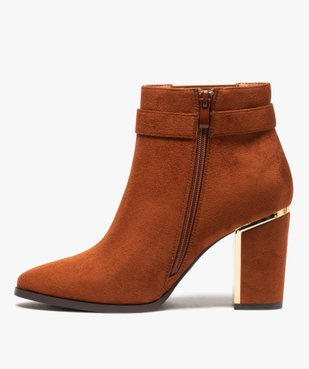 Boots femme à talon unis en suédine détails métallisés vue3 - Nikesneakers(URBAIN) - Nikesneakers
