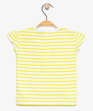 Tee-shirt bébé fille à rayures et manches volantées – SmileyWorld vue2 - SMILEY - GEMO