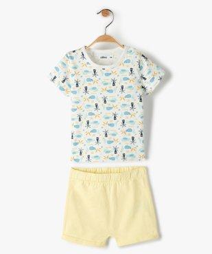 Pyjashort bébé garçon deux pièces à motifs exotiques vue1 - GEMO(BEBE DEBT) - GEMO