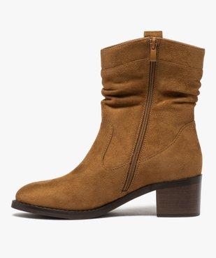 Boots femme à talon carré dessus en suédine unie vue3 - GEMO(URBAIN) - GEMO