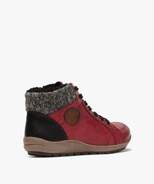 Boots femme à lacets et zip col en maille – Softrelax vue4 - SOFTRELAX - GEMO