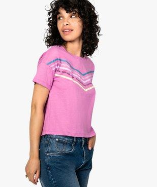 Tee-shirt femme avec inscriptions et bandes colorées vue1 - FOLLOW ME - GEMO