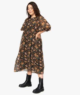 Robe femme longue à motifs fleuris et manches amples  vue1 - GEMO (G TAILLE) - GEMO