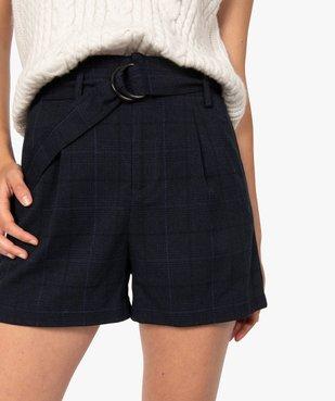 Short femme à taille haute et carreaux vue2 - GEMO(FEMME PAP) - GEMO