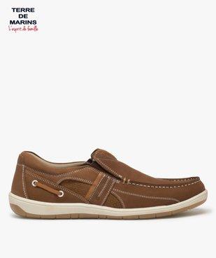 Chaussures bateau homme unies en cuir – Terre de Marins vue1 - TERRE DE MARINS - GEMO
