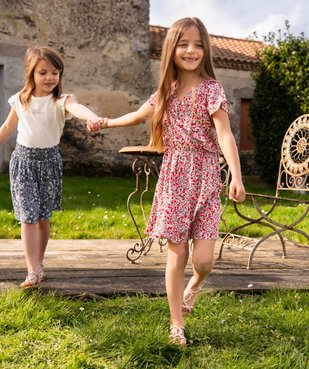 Robe fille fleurie effet portefeuille vue6 - GEMO (ENFANT) - GEMO