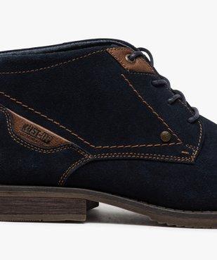 Boots homme unis à lacets dessus en cuir velours vue6 - GEMO(URBAIN) - GEMO