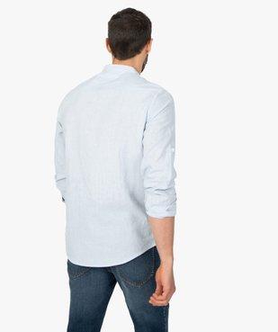 Chemise homme col mao en lin/coton à manches retroussables vue3 - GEMO (HOMME) - GEMO