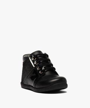 Chaussures premiers pas bébé fille en cuir détails brillants vue2 - Nikesneakers(BEBE DEBT) - Nikesneakers