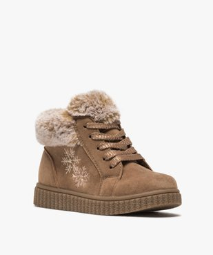 Boots fille zippées dessus suédine et col fourrure imitation  vue2 - Nikesneakers (ENFANT) - Nikesneakers
