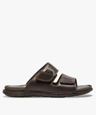 Sandales homme mules dessus et intérieur cuir vue1 - ZEN AIR - GEMO