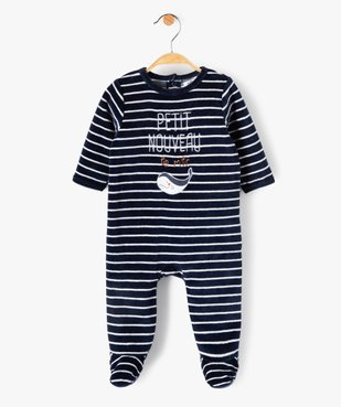 Pyjama bébé rayé en velours  avec inscription brodée vue1 - GEMO(BB COUCHE) - GEMO